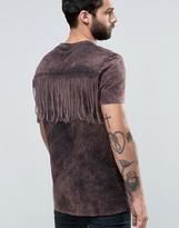 Asos Longline T-Shirt With Fringe Back In Acid Wash Rust