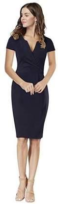 Lintimes Women's V Neck Short Sleeve Knee-length Bodycon Pencil Dress Elegant Cocktail Dress Navy XXL