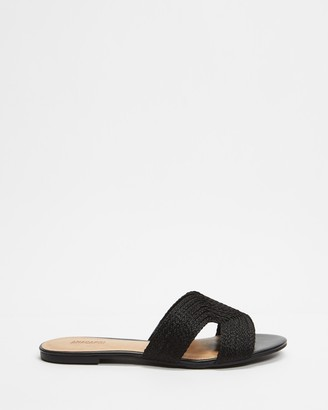 Anacapri - Women's Black Flat Sandals - Natural Slides - Size 39 at The Iconic