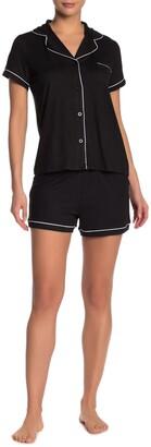 Tahari Notch Collar Top & Shorts Pajama Set
