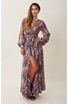 Blu Moon Sheer Printed Long Sleeve Maxi Dress