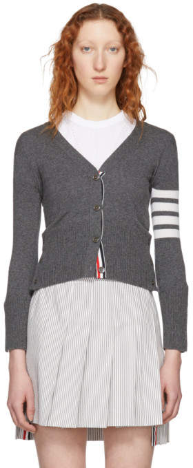 Thom Browne Grey Cashmere Classic Four Bar V-Neck Cardigan