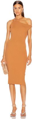 Mason by Michelle Mason Asymmetrical Rib Dress in Apricot   FWRD