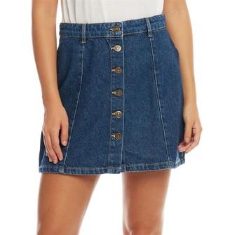 Only You Womens Machine Button Denim Skirt Dark Blue Demin