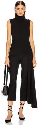 Tibi Structured Crepe Shirred Drape Mockneck Top in Black | FWRD