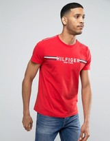 Tommy Hilfiger Stripe Logo T-Shirt in Red