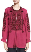 Figue Lou Lou Embroidered Top, Red