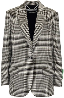 Off-White Logo Embroidered Houndstooth Blazer