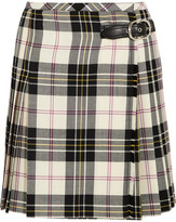 Miu Miu Leather-trimmed Pleated Tartan Wool Mini Skirt - White