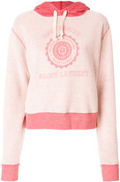 Saint Laurent logo patch hooded sweatshirt - women - Cotton - M