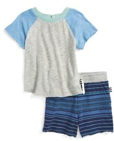 Splendid Infant Boy's Raglan Shirt & Stripe Shorts Set