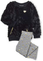 Juicy Couture Girls 4-6x) Two-Piece Faux Fur Sweatshirt & Striped Leggings Set
