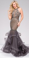 Jovani Embellished Tulle Sheer Back Mermaid Prom Gown