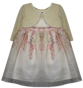 Blueberi Boulevard Toddler Girls Cardigan Dress with Reverse Border