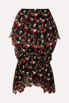 Simone Rocha Ruffled Tiered Embroidered Tulle Midi Skirt - Black