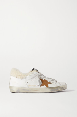 Golden Goose Superstar Distressed Leather, Suede And Shearling Sneakers