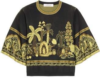 Valentino Jacquard cropped sweater