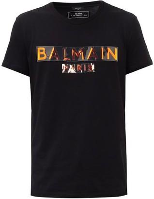 Balmain Holographic Logo-print Cotton-jersey T-shirt - Mens - Black Gold