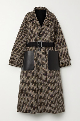 Fendi Reversible Belted Leather-trimmed Wool And Silk-blend Jacquard Coat - Black