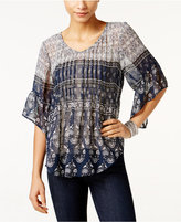 Style&Co. Style & Co Printed Pleated Top, Only at Macy's
