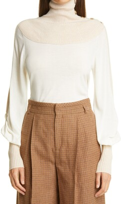 Chloé High Neck Bishop Sleeve Wool Sweater