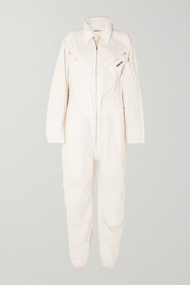 Ambush Convertible Embroidered Cotton-canvas Jumpsuit - White