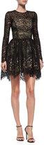 Alexis Long-Sleeve Malin Lace A-Line Skirt, Black