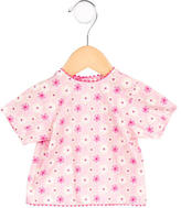 Makie Girls' Floral Print Tie-Accented Top