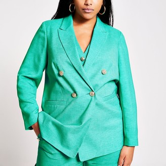 River Island Plus green double breasted blazer
