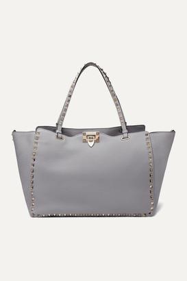 Valentino Garavani Rockstud Medium Textured-leather Tote - Light gray
