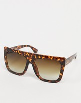 Pieces oversized square sunglasses in tortoise shell