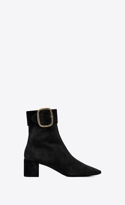 Saint Laurent Heel Booties Joplin Buckle Booties In Suede Black 2