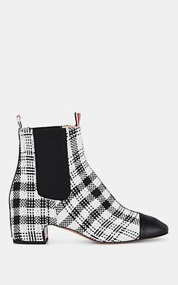 Thom Browne Women's Checked Tweed Chelsea Boots - Black