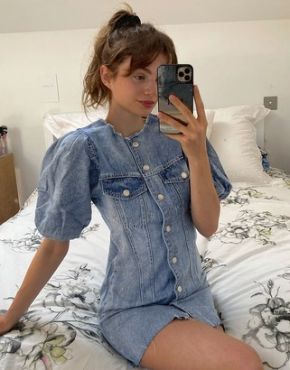 Bershka button down denim dress in blue