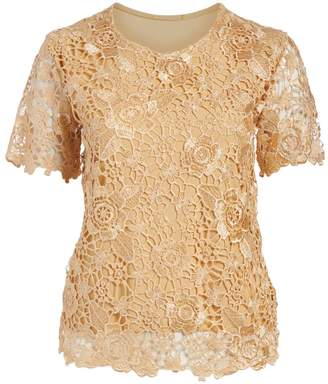 Peek A Boom Peek-a-BOOM Women's Tee Shirts TOFFEE - Toffee Lace Overlay Scoop Neck Top - Plus