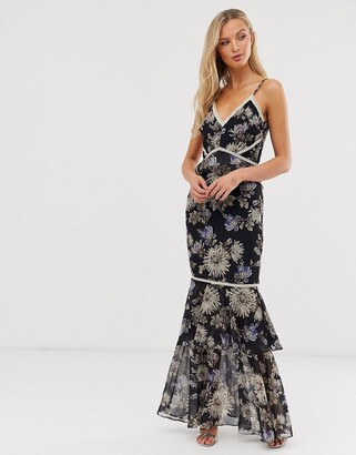 Hope & Ivy floral fitted maxi dress-Navy