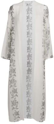 MARIE FRANCE VAN DAMME Silk-Blend Floral Print Kaftan