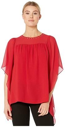 MICHAEL Michael Kors Cascade Sleeve Yoke Top (Black) Women's Clothing