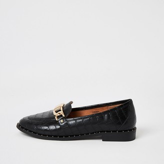 River Island Black croc embossed studded loafers