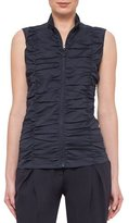 Akris Punto Sleeveless Ruched Zip-Front Blouse, Navy