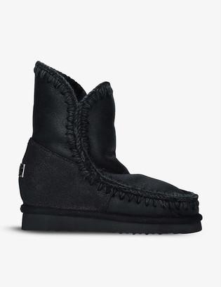 Mou Eskimo short sheepskin wedge boots