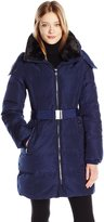 Kenneth Cole New York Women's Belted Long Down Jacket with Sherpa Hood