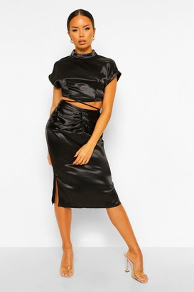 boohoo Satin Strap Top & Ruched Skirt Co-ord Set
