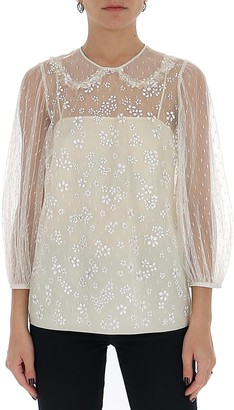 RED Valentino Tulle Floral Applique Blouse