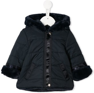Tartine et Chocolat Faux Fur-Trim Hooded Coat