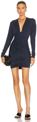 Cushnie Ruched Long Sleeve Plunging Mini Dress in Navy | FWRD