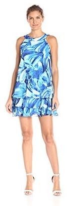 Sandra Darren Women's Sleeveless Printed Floral Chiffon Halter Neck Dress