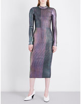 Christopher Kane Metallic ribbed stretch-knit midi dress