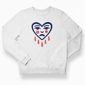 Love Your Mom Sad Heart White Unisex Sweatshirt Top