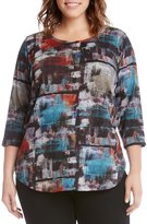 Karen Kane Plus Brushstroke Printed Sweater